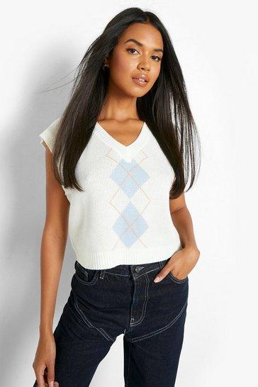 Blue Boxy Crop Knit Vest