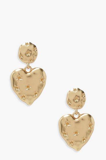 Gold metallic Heart Shaped Textured Drop Earrings