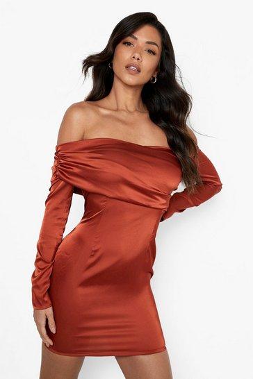 Rust orange Satin Off The Shoulder Mini Dress