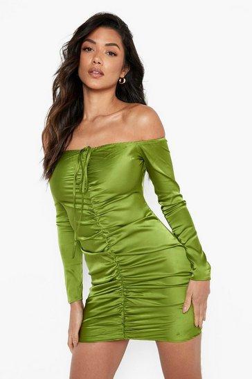 Green Satin Bardot Halterneck Rouched Mini Dress