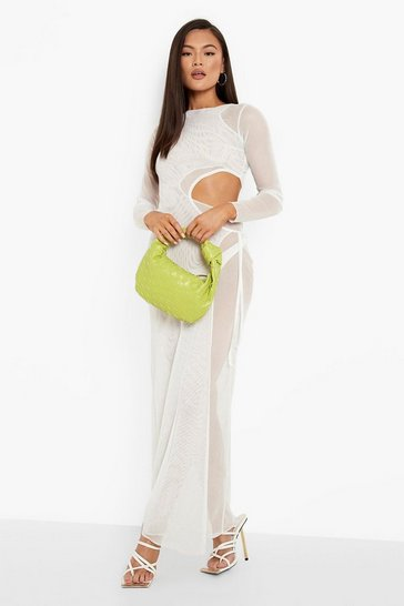 White Mesh Cut Out Double Layer Maxi Dress
