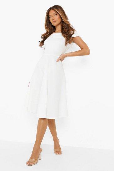 White Scuba Bardot Midi Skater Dress