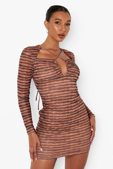 Chocolate brown Striped Long Sleeve Cross Detail Mini Dress