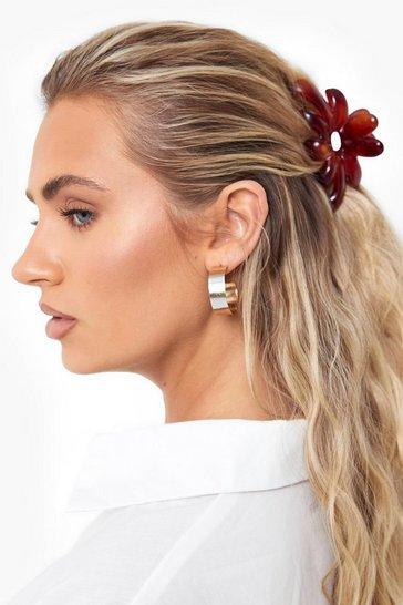 Brown Tort Flower Hair Claw Clip