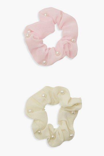 Multi 2 Pack Faux Pearl Scrunchies