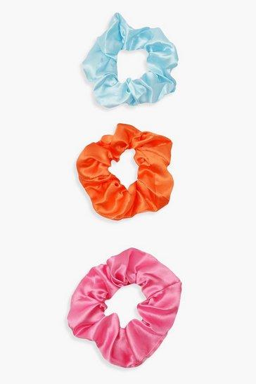 Multi 3 Pack Bright Satin Scrunchies