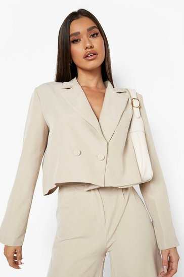 Taupe beige Cropped Oversized Tailored Blazer
