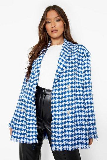 Royal blue Boucle Dogtooth Tailored Frayed Hem Blazer