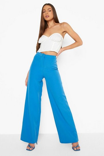 Azure blue Tailored Relaxed Fit Trousers