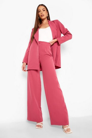 Magenta pink Tailored Fit & Flare Trousers