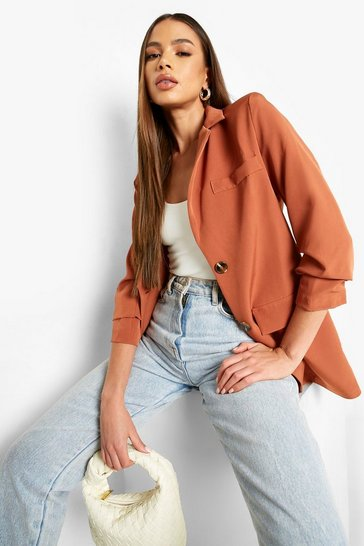 Terracotta orange Ruched Sleeve Mock Horn Tailored Blazer
