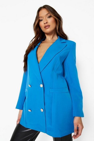 Azure blue Double Breasted Relaxed Fit Blazer