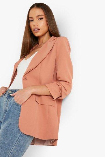 Spice orange Single Button Front Ruched Sleeve Blazer