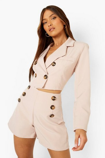 Blush pink Cropped Button Detail Double Breasted Blazer