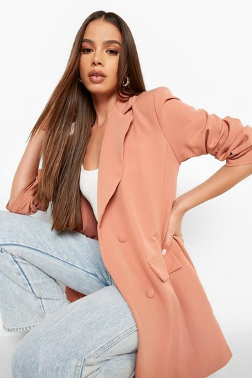 Spice orange Ruched Sleeve Double Breasted Blazer