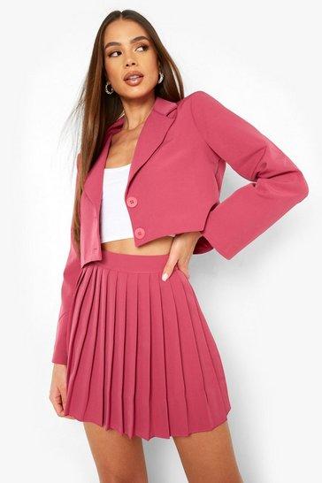 Magenta pink Pleated Woven Mini Skirt