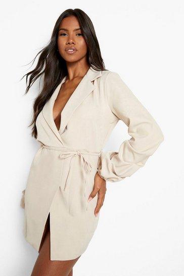 Sand beige Ruched Sleeve Tie Waist Blazer Dress