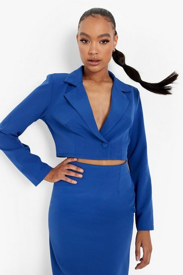 Azure blue Cropped Fitted Tailored Blazer