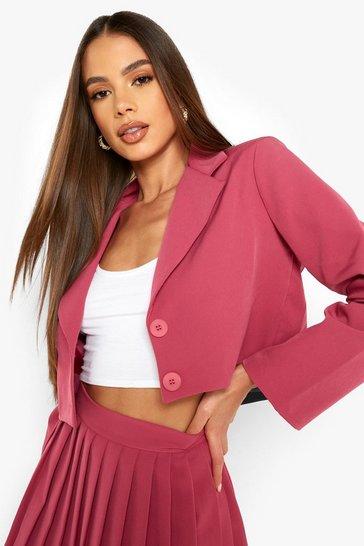 Magenta pink Cropped Tailored Blazer
