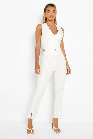 Cream white Split Front Tailored Trousers