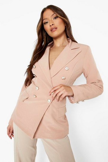 Blush pink Gold Button Double Breasted Blazer