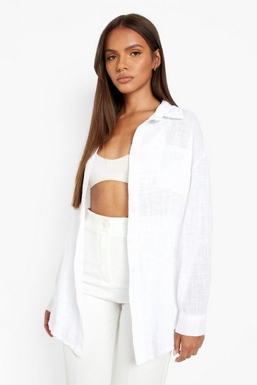 Ivory white Cotton Relaxed Fit Shirt