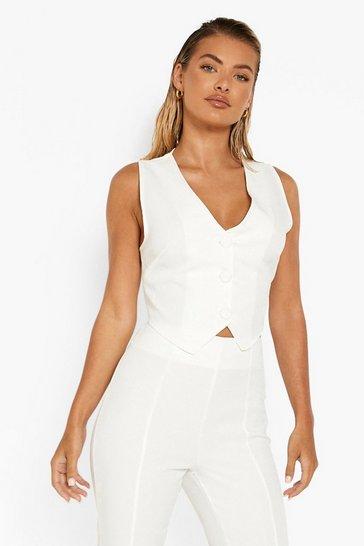 Cream white Self Fabric Button Waistcoat