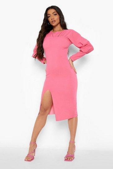 Pink Rouched Split Midi Dress