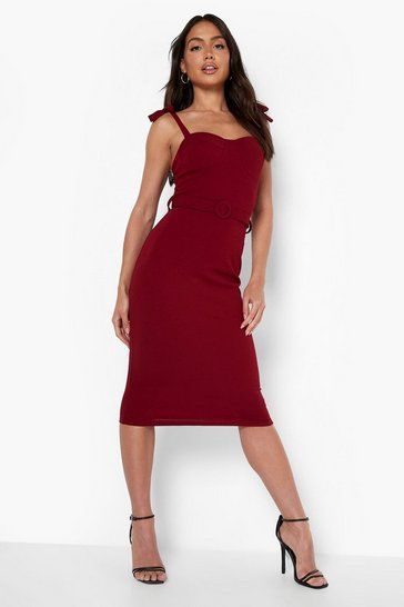 Berry red Strappy Belted Midi Dress