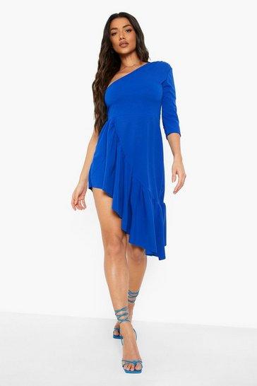 Cobalt blue Asymetric Ruffle Split Midi Dress