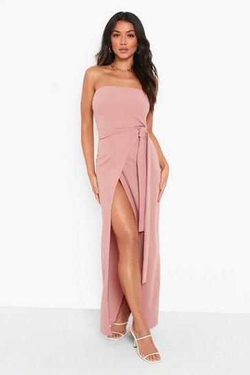 Rose pink Bandeau Wrap Maxi Dress