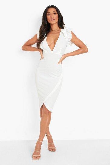 White Ruffle Plunge Wrap Midi Dress