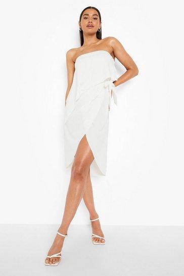 White Bandeau Draped Wrap Midi Dress
