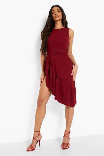 Berry red Sleeveless Frill Hem Midi Dress