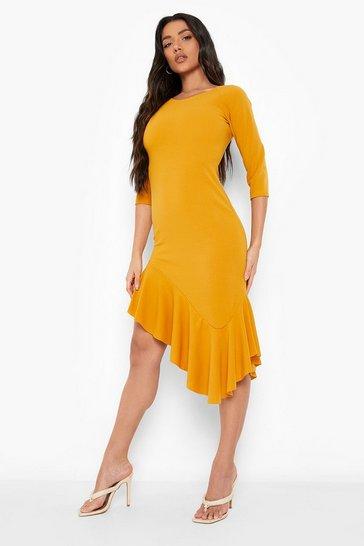 Mustard yellow Asymetric Frill Hem Midi Dress