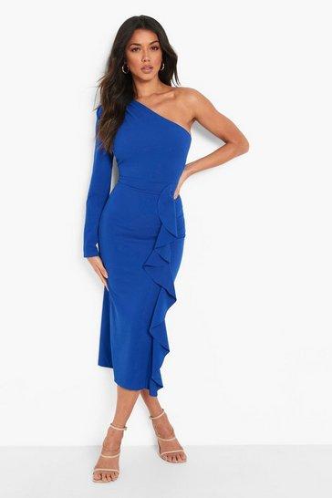 Cobalt blue Asymetric Ruffle Midaxi Dress