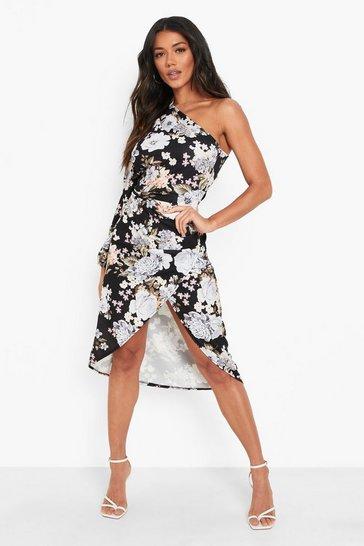 Black Floral Asymetric Wrap Midaxi Dress