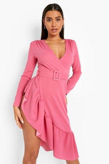 Pink Ruffle Hem Belted Midi Dress