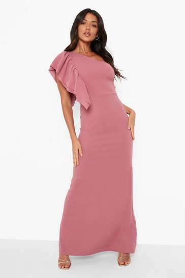 Mauve purple Asymetric Frill Shoulder Maxi Dress
