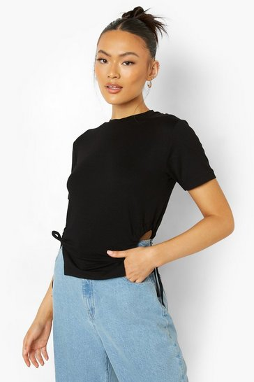 Black Rouched Cut Out Sides T-Shirt