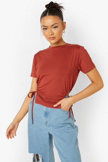Chocolate brown Brown Rouched Cut Out Sides T-Shirt