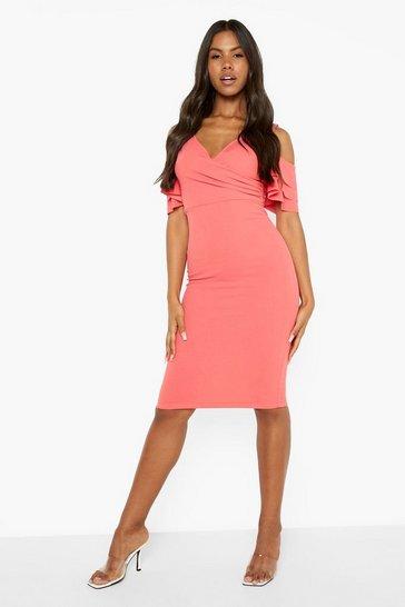 Coral pink Cold Shoulder Ruffle Sleeve Midi Dress
