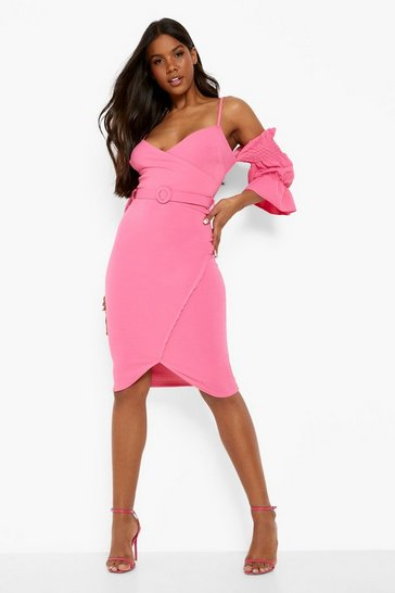 Pink Off The Shoulder Wrap Midi Dress