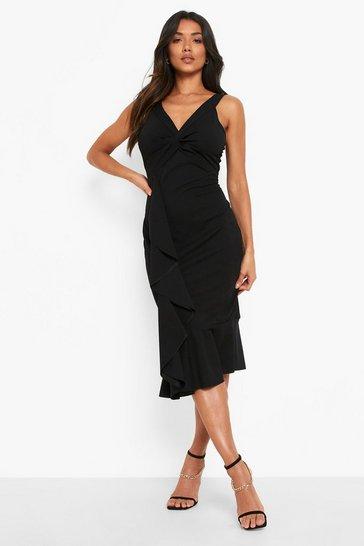 Black Twist Ruffle Detail Midi Dress