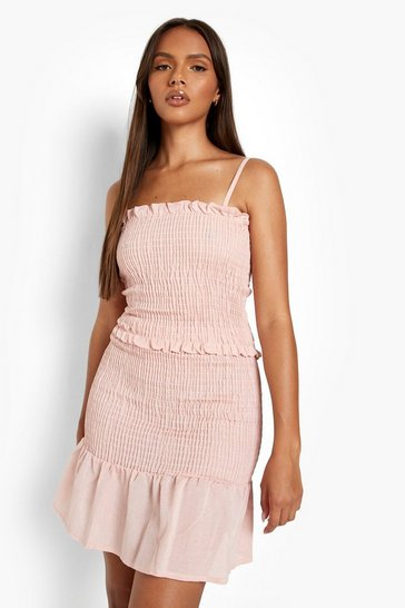 Blush pink Linen Look Shirred Crop & Mini Skirt