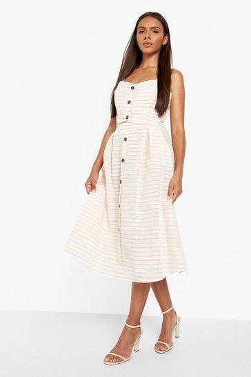 Blush pink Linen Look Tonal Stripe Crop & Midi Skirt