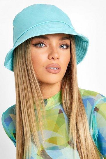 Blue Plain Woven Bucket Hat
