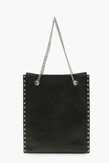Black Studded Tote Bag With Chain Detail