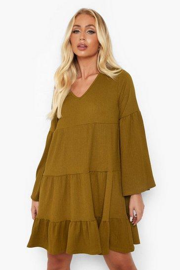 Khaki Textured Tiered Smock Dress