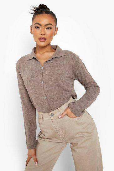 Camel beige Knitted Shirt